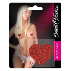 Nipple coeur rouge paillettes
