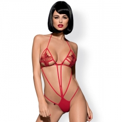 Body-string rouge brodé