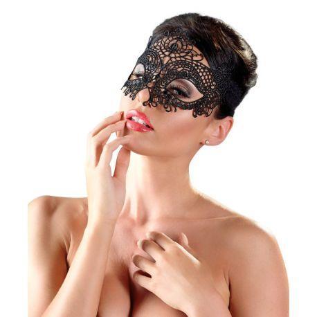 Masque loup noir brodé
