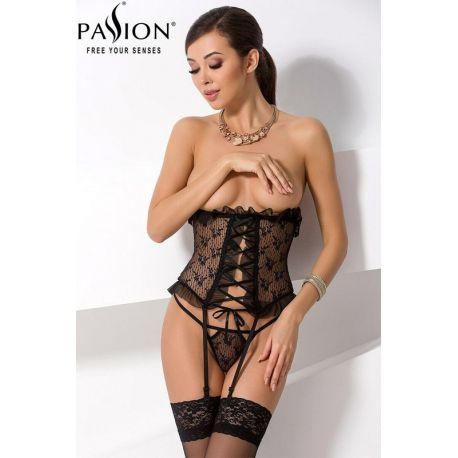 Justina corset serre taille noir Passion