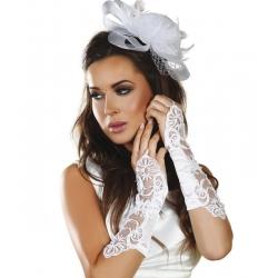 Mitaines blanches brodées paillettes et perles
