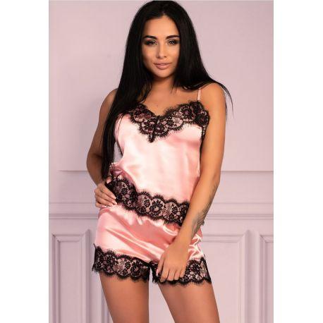 Pyjashort sexy satiné rose dentelle noire