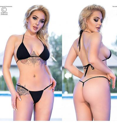 Mini bikini triangle noir