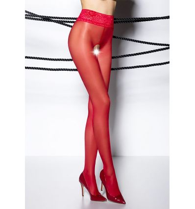 Collant ouvert voile fin rouge