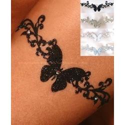Bijou de peau papillon strass noir, argent, or, blanc