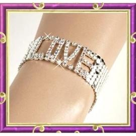 Bracelet argenté et strass Love