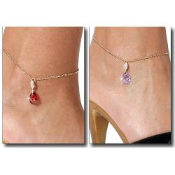 Chaîne de cheville plaqué or cristal rouge ou lilas