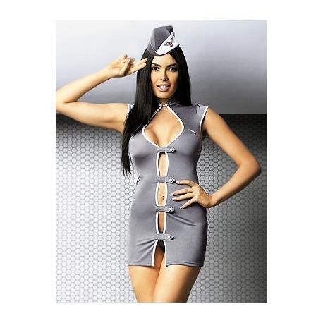 Costume hôtesse de l'air sexy 3 pièces