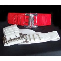 Grosse ceinture simili cuir grande boucle métal argentée