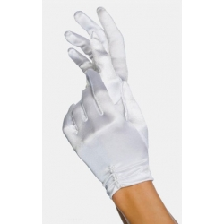 Gants courts satin blancs