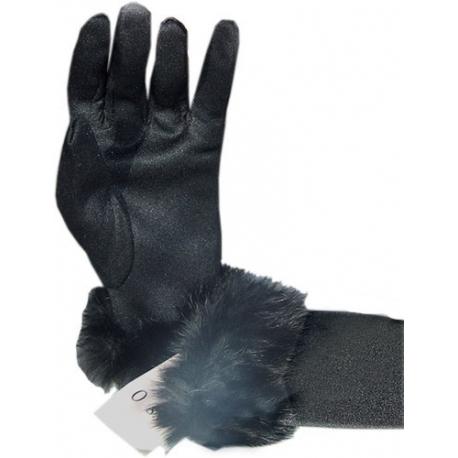 Gants noirs stretch et fourrure