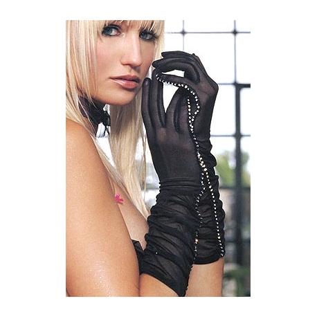Gants noirs maille et strass