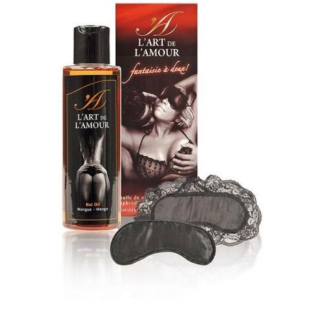 Coffret huile massage aphrodisiaque et ses 2 masques