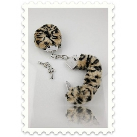 Menottes métal chromé et fourrure léopard