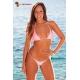 Bikini brésilien triangle 2 pièces lycra satiné - 6 coloris