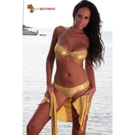 Bikini 2 pièces culotte lycra métallisé - 3 coloris
