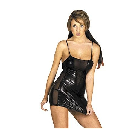 Mini robe sexy vinyle noir