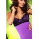 Guêpière-bustier stretch purple avec string assorti