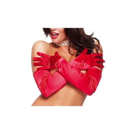 Gants longs satin rouge