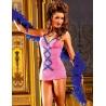 Combinette sexy voile rose et bleue lacée Baci Lingerie