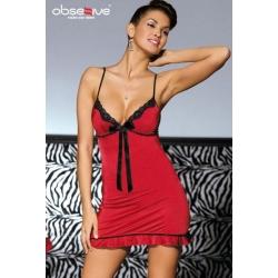 Nuisette et string stretch rouge et noir