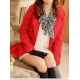 trench coton rouge et foulard