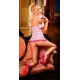 Baby doll sexy et string petits coeurs roses