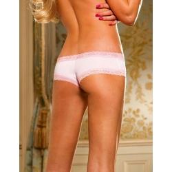 Shorty stretch blanc et dentelle rose pâle