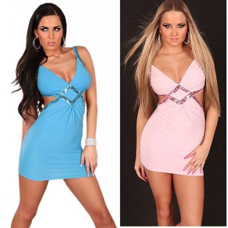 Mini robe sexy stretch et paillettes rose pastel ou turquoise