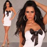 Mini robe bustier blanche et noire strech