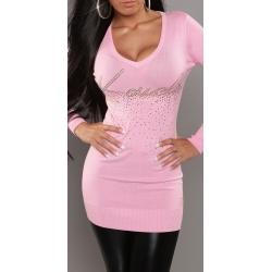 Long pull tricot moulant rose pastel et clous dorés