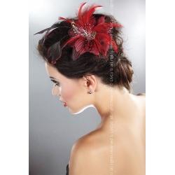 Barrette-clip fleur pour cheveu xet plumes rouges