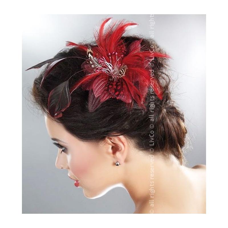 barrette clip fleur pour cheveux et plumes rouges corsetti lingerie. Black Bedroom Furniture Sets. Home Design Ideas