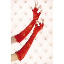 Mitaines longues en dentelle rouge