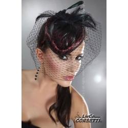 Mini chapeau bibi à voilette noire