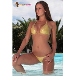 Bikini brésilien triangle 2 pièces lycra métallisé irrisé - 4 coloris
