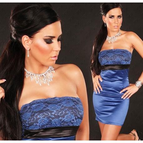 Robe sexy cocktail glamour bustier bleu roi satinée et dentelle