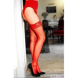 Bas rouge porte-jarretelles