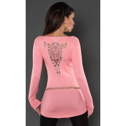 Long pull moulant saumon brodé et mini strass
