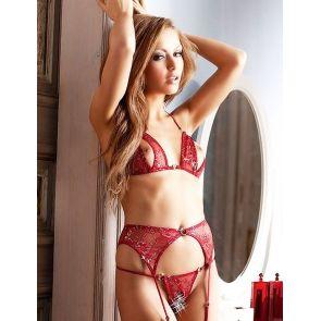 Ensemble lingerie ouverte rouge 3 pièces