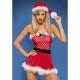 Ensemble robe bustier mère Noël, ceinture, chapeau et string