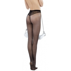 Collant voile string noir