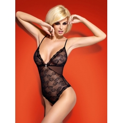 Body dentelle transparent noir