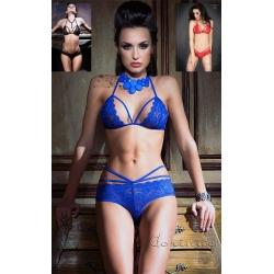 Ensemble lingerie dentelle bleu, rouge ou noir