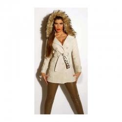 Manteau beige à capuche et fausse fourrure