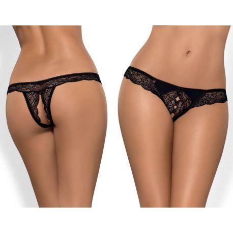 Culotte ouverte dentelle noire