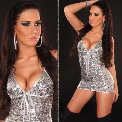 Mini robe de soirée argent