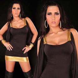 Mini robe sexy noire et or à manches ouvertes