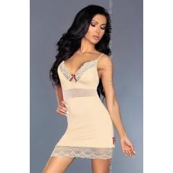 Nuisette opaque vanille stretch et dentelle Livco corsetti