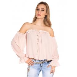 Chemise à manches longues sexy Carmen rose pastel